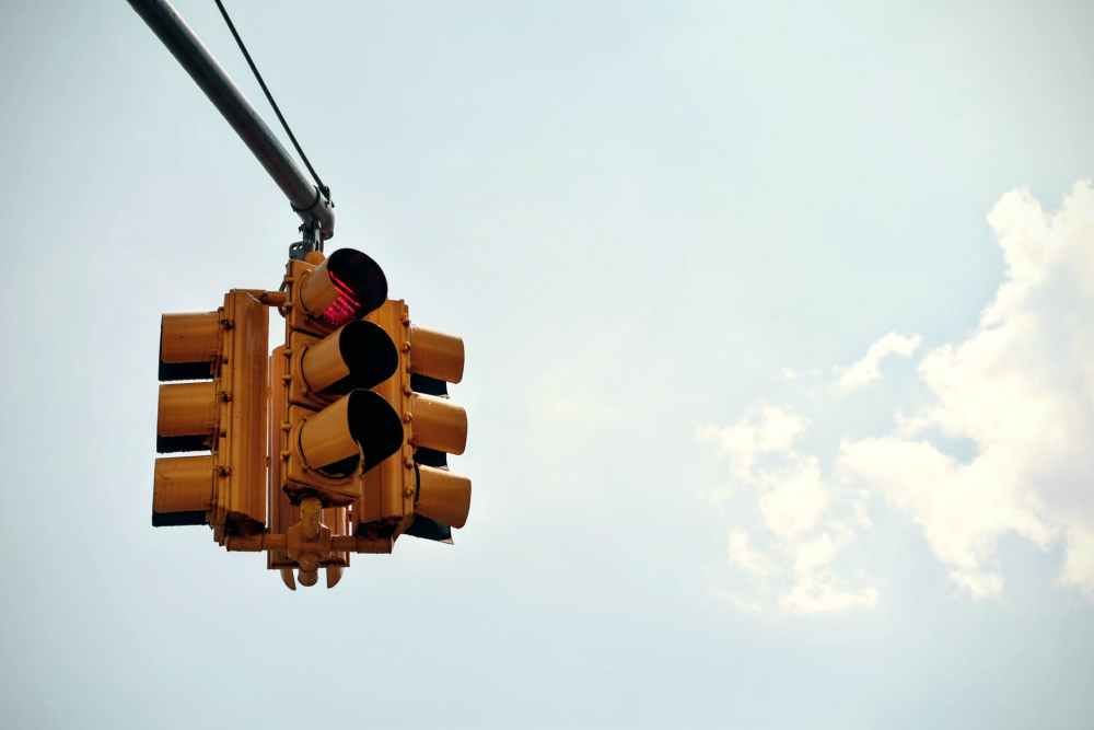 traffic light under blue sky