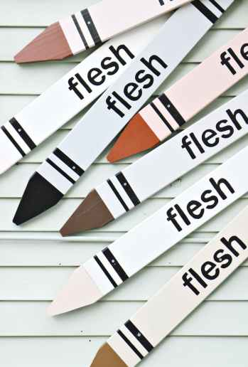 white crayon designed boards with flesh printed text lot